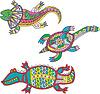 Motley Eidechse, Schildkröte und Krokodil