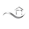 Векторный клипарт: Металлический логотип с символом волны и дома