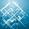 Векторный клипарт: Технология синий фон с размытыми квадратами