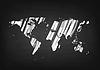Grunge Weltkarte auf schwarz Tafel