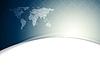 Blaue wellenförmige Tech-Hintergrund mit Weltkarte