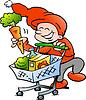 Handgezeichnete ein Happy Christmas Elf auf Shopping-Tour