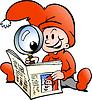 Handgezeichnete ein Happy Christmas Elf Nachrichtenpapier lesen