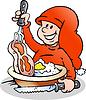 Handgezeichnete ein Happy Christmas Elf Kochen