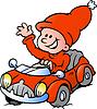 Handgezeichnete ein Happy Christmas Elf Fahren im roten