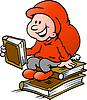 Handgezeichnete Ein frohes Weihnachtself lesen Bücher