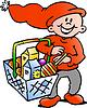 Handgezeichnete ein Happy Christmas Elf mit Einkaufs