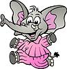 手绘的快乐女婴大象在睡衣 | 向量插图