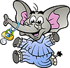 Handgezeichnete ein Glückliches Baby Elephant in Pyjamas
