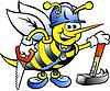 Handgezeichnete ein frohes Working Holzbiene
