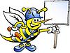 Handgezeichnete eine Glückliche Arbeitsbienen-Holding-Zeichen