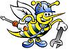 Handgezeichnete ein frohes Working Biene, welche die Schlüssel und