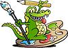 Handgezeichnete ein frohes kreativen Künstler Crocodile