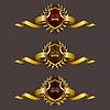 Goldene Schilde mit Lorbeerkranz