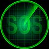 Radarschirm mit Wort SOS