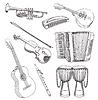 Народные музыкальные инструменты рисования набор | Векторный клипарт
