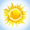 Векторный клипарт: акварель солнце рисунок на фоне голубого неба