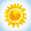 Векторный клипарт: детски акварель солнце на фоне голубого неба