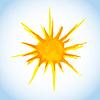 Векторный клипарт: акварель солнце на фоне голубого неба