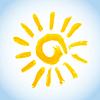 Векторный клипарт: Swirly акварель солнце на фоне голубого неба