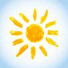 Векторный клипарт: простая детская акварель солнце на голубом небе