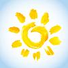 Векторный клипарт: символ акварель солнце на фоне голубого неба