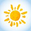 Векторный клипарт: смешно детски акварель солнце на голубом небе