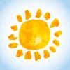 Векторный клипарт: детски акварель жирным солнце на голубом SK