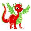 Red spotted Drache mit grünen Hautflügel