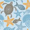 Nahtloses Muster mit Schildkröten, Seesterne und