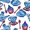 Векторный клипарт: Акварель Бесшовные Tea Time Pattern