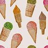 Векторный клипарт: Бесшовные шаблон с акварелью Ice Cream