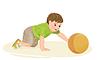 Векторный клипарт: милый ребенок играет с мячом