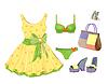 Fashion-Kit für Mädchen. Kleid, Handtasche, Bikini und