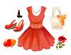 Fashion-Kit für Mädchen. Kleid, Handtasche, Blume,