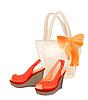 Satz von Strand-Tasche und Schuhe