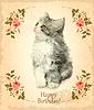 Векторный клипарт: Счастливые карты рождения с пушистым котенком. Имитация о