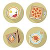 Lebensmittel Flach Symbole