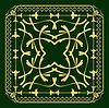 Векторный клипарт: Золото орнамент ondark зеленом фоне. Может использоваться