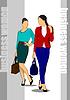 Векторный клипарт: Современные молодые деловых женщин. Цветные