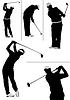Векторный клипарт: Набор гольфист силуэтов игроки