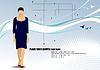 Векторный клипарт: Современные молодые деловых женщин на привет технологий фона.