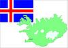 Векторный клипарт: Исландия карта и флаг