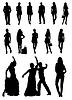 Векторный клипарт: Черно-белые силуэты людей