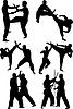 Векторный клипарт: Спорт каратэ человек делает упражнения