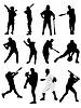 Векторный клипарт: Большой набор черно-белый игрок в бейсбол