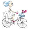 Векторный клипарт: милые девушки едет велосипед