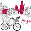 Векторный клипарт: милые девушки на велосипеде в Праге