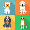 SET Hunde icon flaches Design