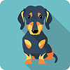 Hund Dackel Symbol flaches Design